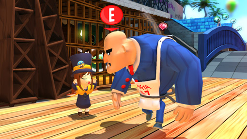 Hat Kid teasing one of the Mafia of Cooks